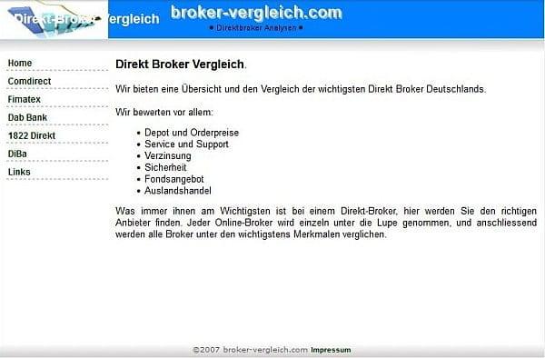 Screenshot der Webseite von 2007